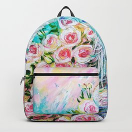White peacock and roses Backpack