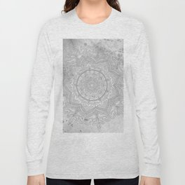 gray splash mandala swirl boho Long Sleeve T-shirt