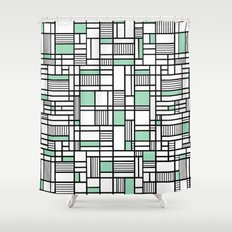 Map Lines Mint Shower Curtain