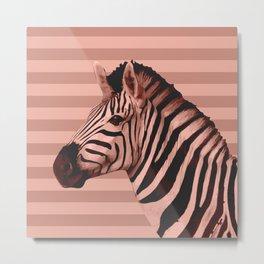 [Animals & Stripes] Peach zebra Metal Print