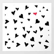 black hearts with one pink one  Art Print