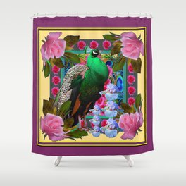 YELLOW-PUCE  PURPLE & PINK ROSES GREEN PEACOCK FLORAL Shower Curtain