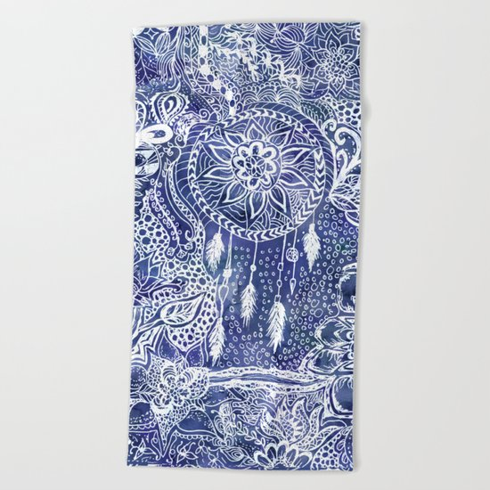 Boho blue dreamcatcher feathers floral illustration Beach Towel