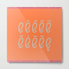 Accented Typography * Character E Metal Print