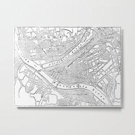 Vintage Map of Pittsburgh (1885)  Metal Print