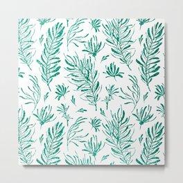 Elegant emerald green glitter foliage Metal Print