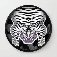 TIBETAN TIGER WHITE (black) Wall Clock