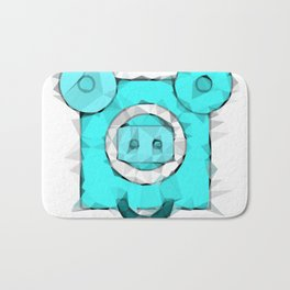 blue pig portrait geometric triangle pattern abstract Bath Mat