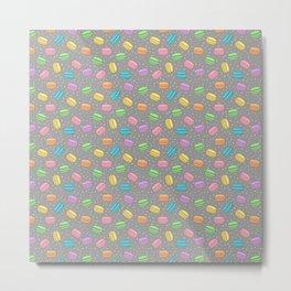 Pretty Pastel French Macarons Pattern on Grey Metal Print