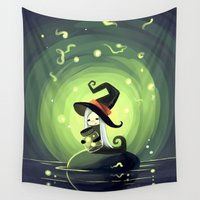 fireflies Wall Tapestries featuring Fireflies by Freeminds