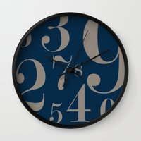 numbers Wall Clocks featuring Numbers  by Kimberly Jones