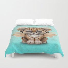 Cute Leopard Cub Fairy Wearing Glasses on Blue Duvet Cover