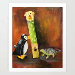 Dino and Friends Series - Penguin Art Print