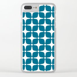 Mid Century Modern Star Pattern Peacock Blue 2 Clear iPhone Case