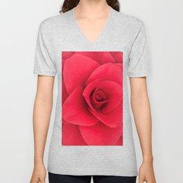 Red Camellia Bloom Unisex V-Neck
