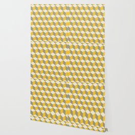 Diamond Repeating Pattern In Yellow Gray and White Wallpaper
