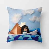 caleb troy Throw Pillows featuring Troy Marinera ~ Sailor by Marivi Troy