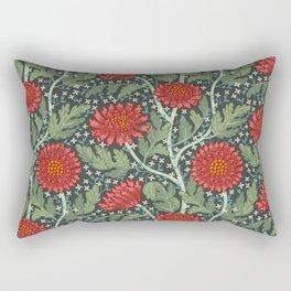 Arts and crafts red chrysanthemum pattern Rectangular Pillow