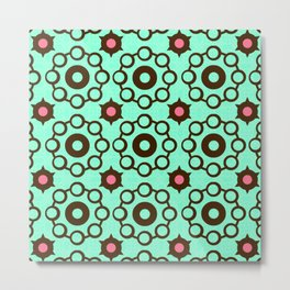 Cosmic Cheer Collection-Crop Circle Wheels-Chocolate, Cotton Candy Pink  and Mint Background Metal Print