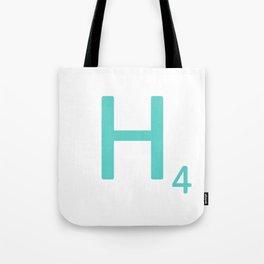 Blue H Scrabble Letter Art Tote Bag