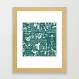 Da Vinci's Anatomy Sketchbook // Genoa Green Framed Art Print