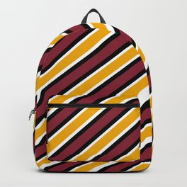 TEAM COLORS 1…Maroon Gold black and white diagonal stripe Backpack