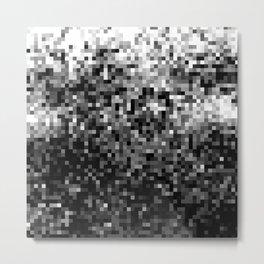 Black  & White Pixels Metal Print