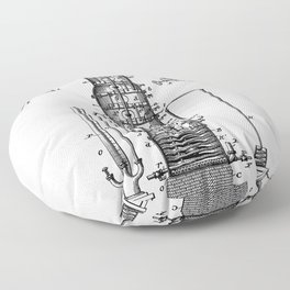 Whisky Patent - Whisky Still Art - Black And White Floor Pillow