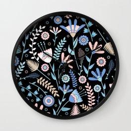 Folk floral pattern / pastel on black Wall Clock