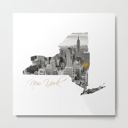New York Map Cut Out Metal Print