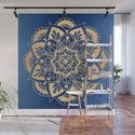 Blue and Gold Flower Mandala by julieerindesigns