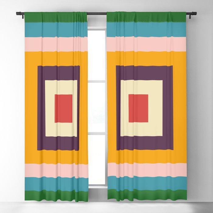 Retro Colored Square Space Blackout Curtain