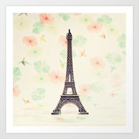 eiffel tower Art Prints featuring Eiffel Tower by Caroline Mint