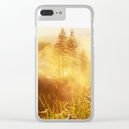 Trees in the Mist in Color Clear iPhone Case