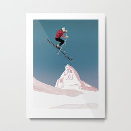 Mountain Love Skier Metal Print