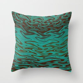 Ripples Fractal in Teals Throw Pillow