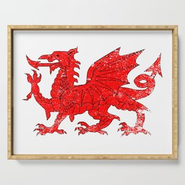 Welsh Dragon With Grunge Serving Tray