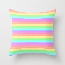 Pastel Rainbow Stripes Throw Pillow