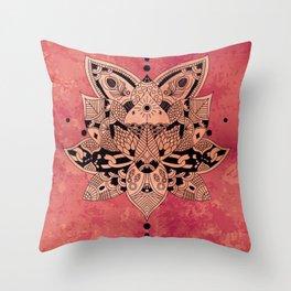 Happiness Mandala Metallic Peach Rose Gold Throw Pillow