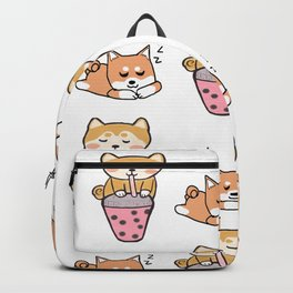 Shiba pattern with bubble tea Backpack