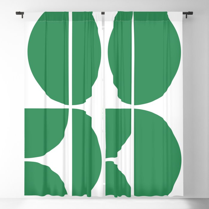 Mid Century Modern Green Square Blackout Curtain