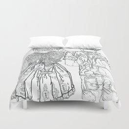 Geometric Japanese Black and White Linework Love couple Duvet Cover