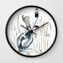 Tybee Island Pelican Wall Clock