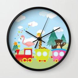 Animals Train , Nursery decor Wall Clock