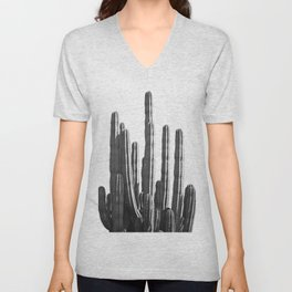 Black and White Cactus Unisex V-Neck
