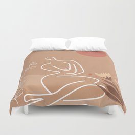 Woman in Nature Illustration Duvet Cover