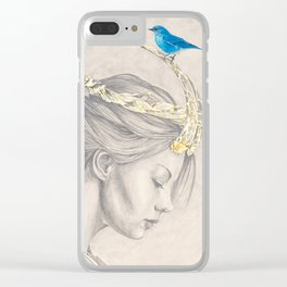 Glimmering gold crown Clear iPhone Case