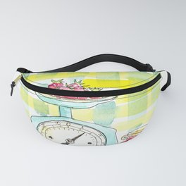 Cafe design print with kitchen scales and strawberries Fanny Pack