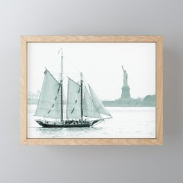 Statue of Liberty with Schooner Framed Mini Art Print