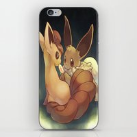 eevee iPhone & iPod Skins featuring Eevee and Vulpix by Yamilett Pimentel